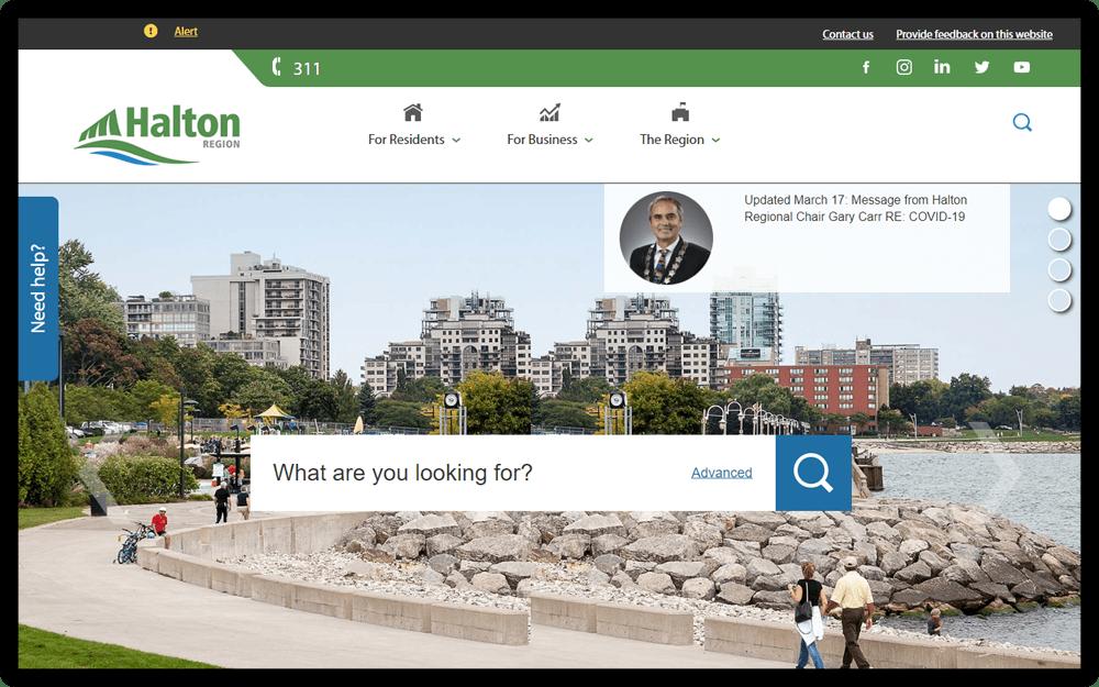 Halton Region Website Screenshot