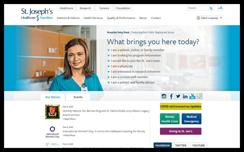 St. Joseph's Healthcare Hamilton Homepage