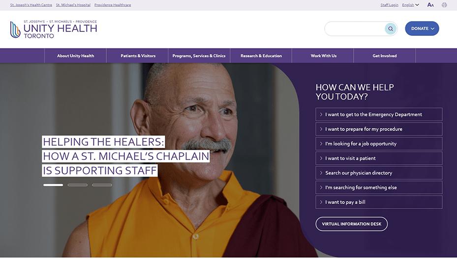 Unity Health Toronto Homepage